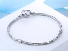 Ladies 925 silver snake charm bracelet bangle with heart Jewellery present gift