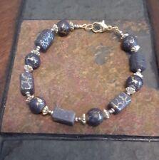"7"" Artisan Handmade Gold Gray Crackle Enamel Wood Acrylic Beads Clasp Bracelet"
