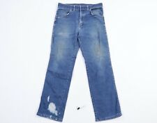 Vintage 80s Wrangler Mens 33x29 Distressed Straight Leg Western Denim Jeans USA
