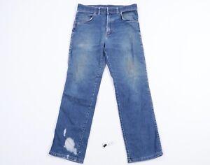 Vintage 80s Wrangler Mens 33x29 Rockabilly Straight Leg Jeans USA Distressed