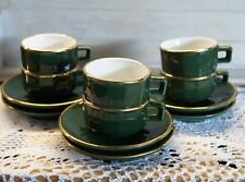 APILCO GREEN / GOLD TEA/COFFEE MUGS & SAUCERS FRENCH BISTRO  6 st