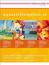Hahnemuhle Aquarell Selection Pad - 12 Different Watercolour Papers - 17 x 24cm