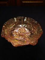 """Imperial LUSTRE ROSE Marigold Carnival Glass Fluted Ruffled Three-Footed 8"""" BOWL"""