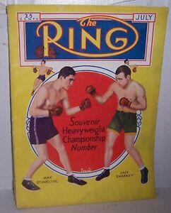 Vintage July 1932 The Ring Boxing Magazine  Max Schmeling Jack Sharkey