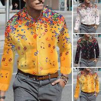 Men Long Sleeve Christmas Printed Shirt Collar Button Down Formal Causal T Shirt