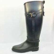 BURBERRY Belted Equestrian Rubber Roscot Rain Boots, black, size 7 MSRP $375