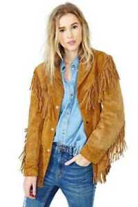 Women Tan Brown Suede Western Style Leather Jacket With Fringe