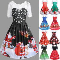 Women's Merry Christmas Vintage Santa Claus Print Lace Evening Party Dress AU