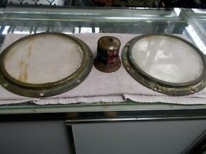 2 Antique Porthole Ship Brass Windows with Glass W/ an Antique Brass Front Light
