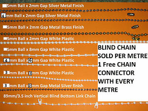 Blind Bead/Beaded Chain White/Silver/ brass Roller,Vertical or Roman per meter