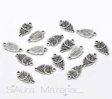 10x Eule Charm Anhänger antiksilber für Halskette Neu Zinklegierung