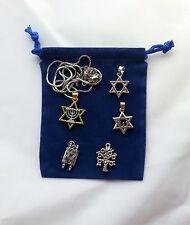 Judaica Star David Jewish Jewelry Torah Tree Life Menorah 6 pc Set Silver Gold f