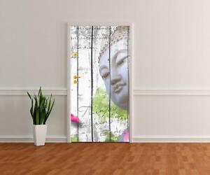 Türtapete Holz Blüten Buddha Tapete, Tür-Aufkleber, Türbild, Wandbild M0544