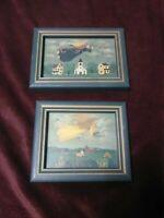 Folk Art Prints Set of 2 primitive flying angels framed landscapes Vintage decor