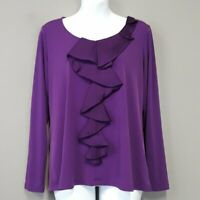 Susan Graver Purple Satin Ruffle detail jersey knit long sleeve Top Size Small