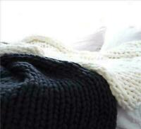 BLACK Knitted Blankets Warm Soft Chunky Thick Yarn Wool Bulky Throws Small Large