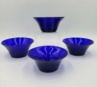 S/4 Imperial Glass DIAMOND & SUNBURST COBALT Fruit/Dessert Bowls  EXCELLENT