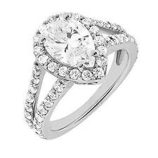 1.84 carat 1 ct Pear shape & Round Diamond Halo Engagement 14k White Gold Ring