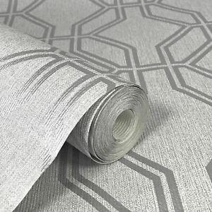 Geometric Trellis Metallic Silver Grey Feature Rasch Highgrove Wallpaper