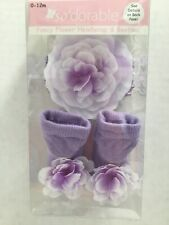 So'dorable Fancy Flower Headwrap And Booties LILAC PURPLE  0 - 12 Months NEW