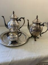 Vintage WM Rogers Silver Teapot Creamer And Tray