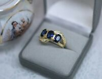 Art Deco Vintage Jewellery Gold Ring Blue White Sapphires Antique Jewelry