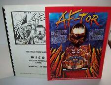 Af-Tor Pinball Machine Original Manual & Sale Flyer Lot Wico Game 1984 Aftor