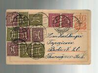 1922 Charlottenburg Berlin Germany Multi Franking Inflation Postcard Cover