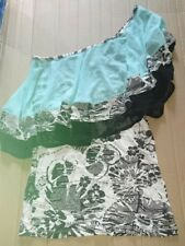 BNWT Women's Ringspun Layered Top Size 10 Black White Floral Light Blue 1 Sleeve