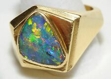 Black Opal Mens/Ladies Ring One of One 18k ylow gold, ring size aprox 9.5, Au,