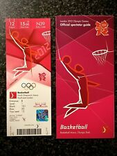 LONDON 2012 OLYMPIC TICKET BASKETBALL USA / KOBE BRYANT GOLD & SPECTATOR GUIDE