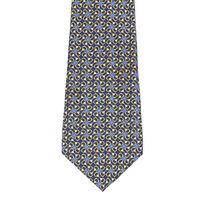 Truzzi  Sharp! Geometric Blue with Yellow Circle Swirl Pattern Silk Neck Tie