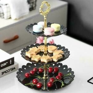 3-Layer Fruit Tray Dessert Stand Rack Cake Wedding Birthday Display Plate F7M3