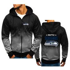 Seattle Seahawks Gradient Hoodie Splash-Ink Full-Zip Sweatshirt Sports Jacket