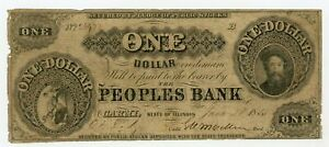 1855 $1 The Peoples Bank - Carmi, ILLINOIS Note