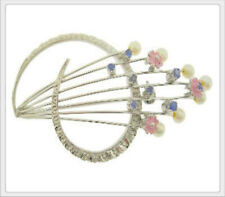 Ladies 18K White Gold Sapphire & Pearl Pin Brooch Broach