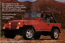 1986 JEEP Red Wrangler 2-page Photo AD Collectible Advertising