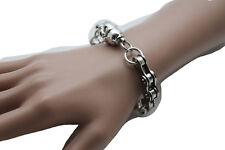 Men Women Jewelry Silver Skeleton Skull Bracelet Metal Motorcycle Links Biker