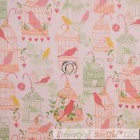 BonEful Fabric FQ Cotton Quilt Pink Orange Flower Rose BIRD CAGE Heart Baby Girl