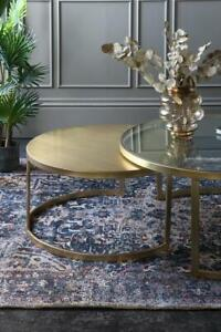Round Coffee Table Set of 2 Gold Iron Glass 42 x 90 x 90cm Living Room Art Deco