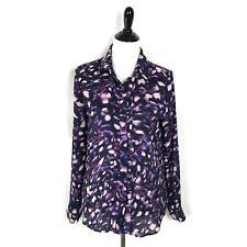 Robert Rodriguez Lyndsey Midnight Button Blouse Purple Lightweight Top Size S