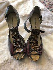 """Madden Girl Shoes Pumps 4"""" High Heels Platform Multi Color Paris T Strap Sz 8"""