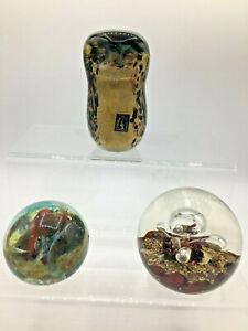 Three Vintage Glass Paperweights (AH157/140/137G)