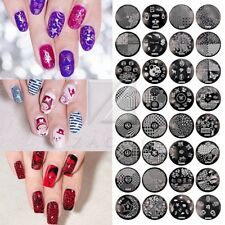 hehe Resuable Nail Stamp Plate Manicure Metal Template 72 Style Round Tip Art