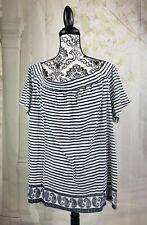 Two by Vince Camuto womens sz 3x off the shoulder mix print  top semi sheer b20a