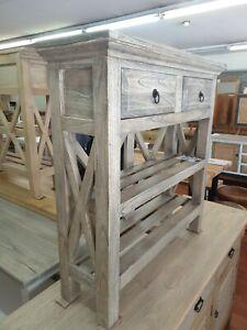 Tina  greywash Hamptons coastal  narrow slim thin hall table console