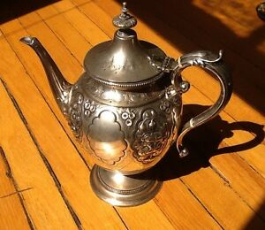 Antique SilverplateTea Coffee Pot with Floral Display- c.1900