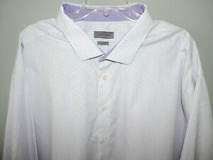 Mens CK Calvin Klein Non Iron Big & Tall Purple Plaid Dress Shirt SZ 22 35/36