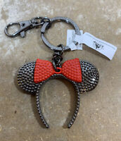 Disney Parks Black W/ Red Bow Minnie Mouse Ear Headband Metal Keychain New