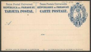 Paraguay 1882 3c blue Lion postal card unused HG #2